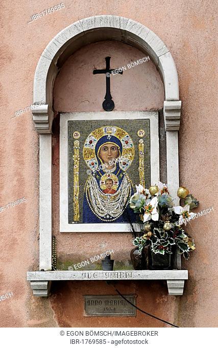 Madonna, mosaic icon, Venice, Veneto, Italy, Europe