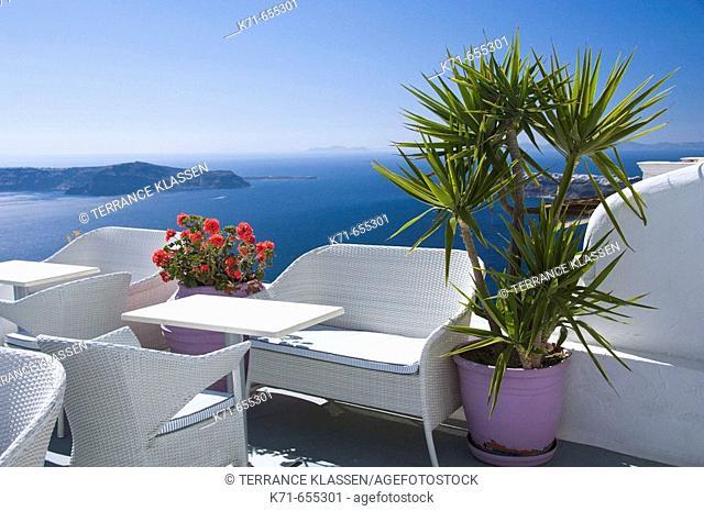 Typical Greek apartment balcony furniture in Imerovigli on the Greek Island of Santorini, Greece