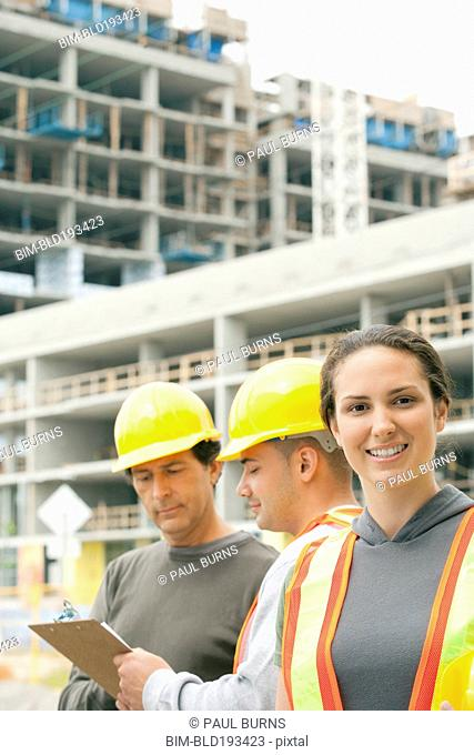 Construction workers on construction site