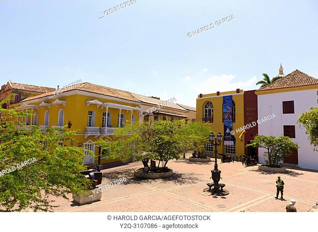 Plaza Santa Teresa in the ancient walled city of Cartagena de Indias. UNESCO's historical heritage of humanity. Cartagena, Colombia