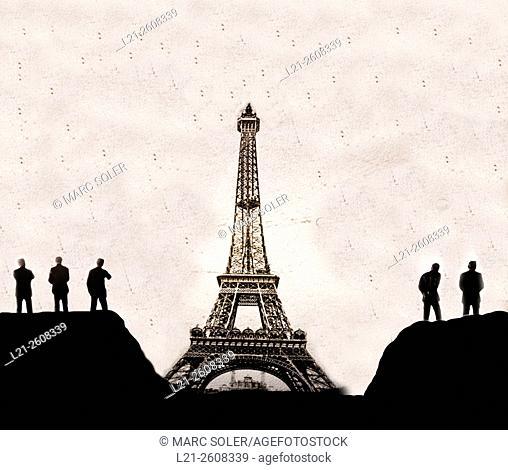 Eiffel tower, silhouette of men