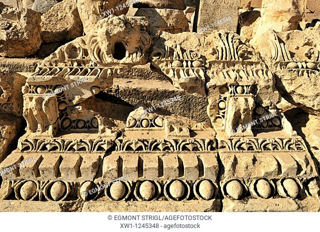 antique architectural detail at the archeological site of Baalbek, Unesco World Heritage Site, Bekaa Valley, Lebanon, Middle East, West Asia