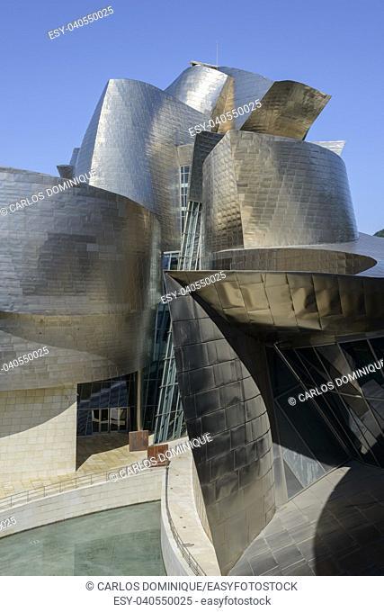 Guggenheim Bilbao museum detail of the outer walls