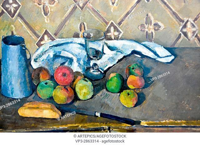 Paul Cézanne . Fruits, serviette et boite a lait. 1881 . Musée de l'Orangerie - Paris