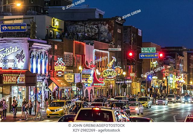 Country Music bars on Broadway, Nashville, Tennessee, USA