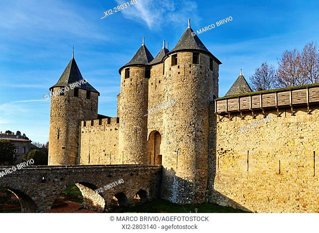 Historic Fortified City of Carcassonne France. The Cite' de Carcassonne is a medieval citadel located in the French city of Carcassonne