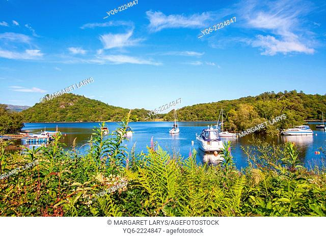 Loch Lomond in Scotland with boats and tourists