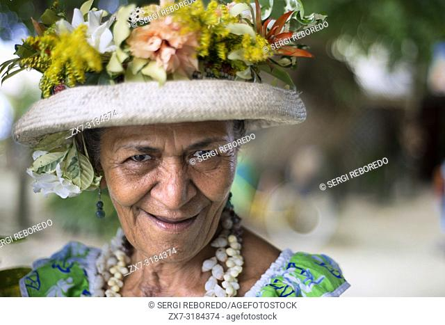 Portrait of a old woman in Huahine, Society Islands, French Polynesia, South Pacific