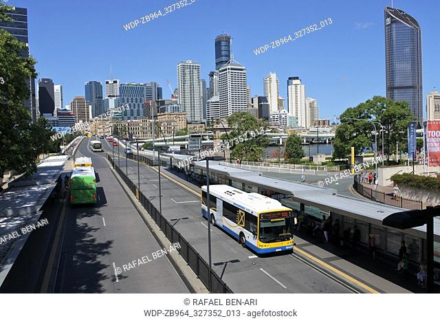 BRISBANE -JAN 02 2019:CityGlider bus services in Brisbane, Australia.The CityGlider and CityCycle schemes reduce traffic congestion and improve public transport...