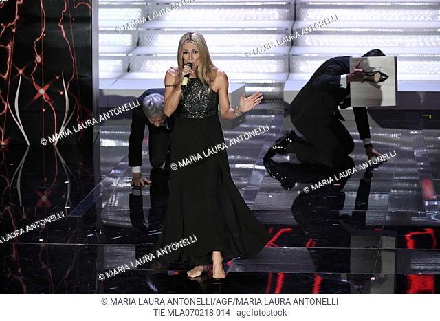 Singer and artistic director of Festival Claudio Baglioni, Michelle Hunziker, the actor Pierfrancesco Favino during the 68th Sanremo Music Festival, Sanremo
