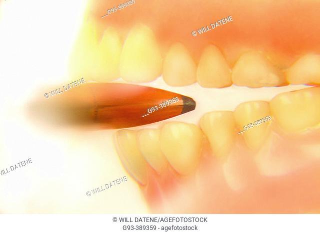 Teeth catching bullet