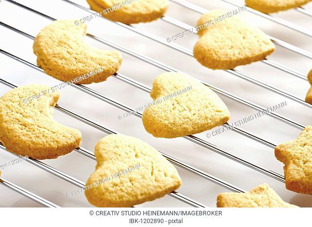 Shortcrust cookies on oven grid