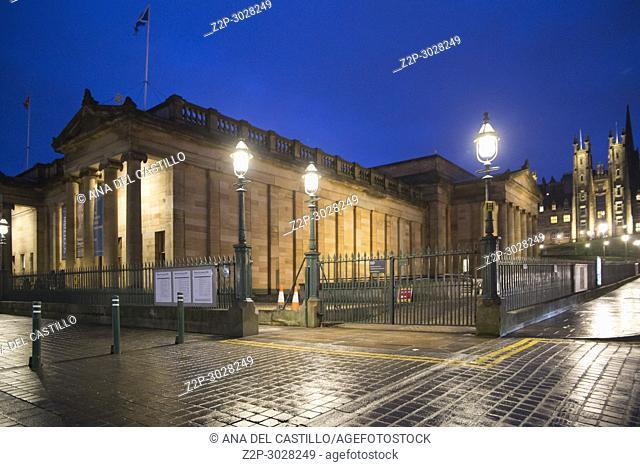 Edimburg museum by night. Scotland, UK