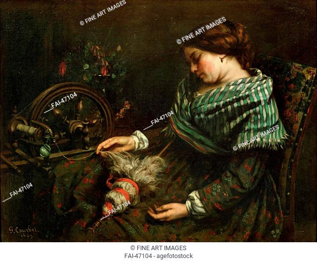 The Sleeping Spinner (La fileuse endormie) by Courbet, Gustave (1819-1877)/Oil on canvas/Realism/1853/France/Musée Fabre, Montpellier/90