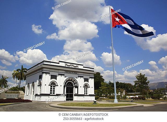 Huge Cuban flag in the Sta. Ifigenia cemetery-Cementerio Sta. Ifigenia at the city center, Santiago de Cuba, Cuba, Central America