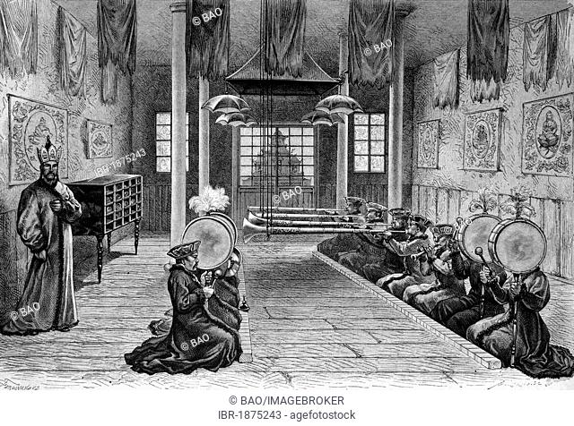 Music performance at the Pagoda of Kurul Kalmuck, China, historical illustration, circa 1886