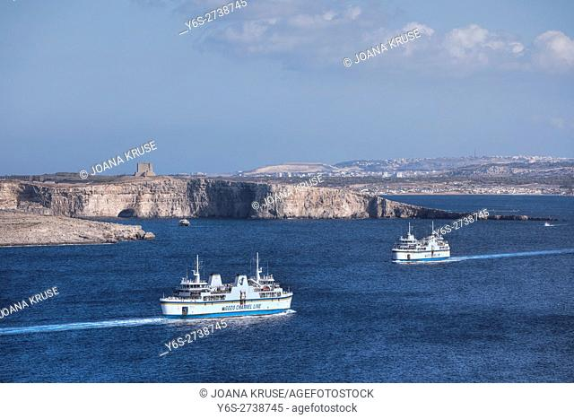 Gozo ferries with view to Comino, Malta
