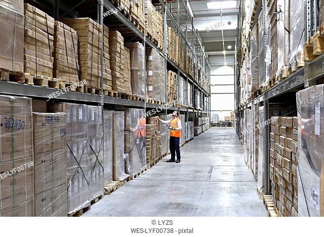 Man in factory hall wearing safety looking up