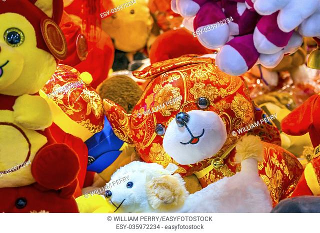 Dogs and more Dogs. Red Ancient Dogs Chinese Lunar New Year Decorations Beijing China. 2018 Year of the Dog in Chinese Lunar New Year