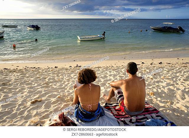 Sunset at Trou aux Biches, public beach, Mauritius