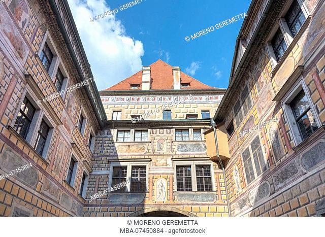 Cesky Krumlov, South Bohemia, Czech Republic, Europe, Painted walls of the medieval castle