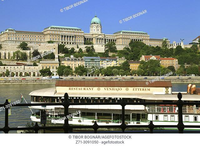 Hungary, Budapest, Royal Palace, Danube River, ship restaurant,