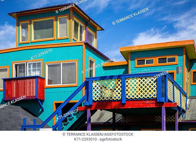 A multi-colored home in Rockaway Beach, Oregon, USA