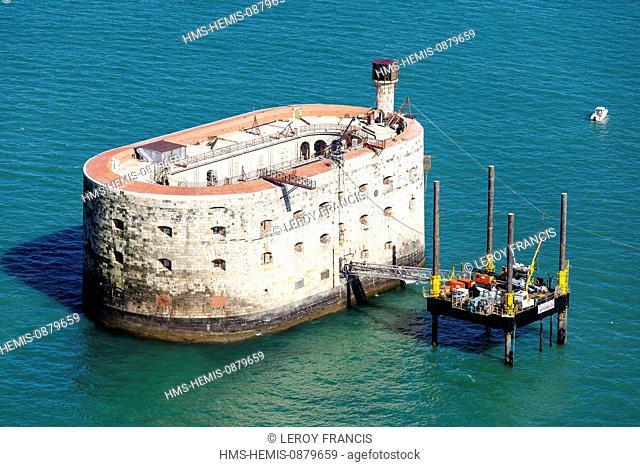 France, Charente Maritime, Fort Boyard (aerial view)