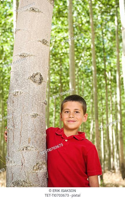 USA, Oregon, Boardman, Boy 8-9 standing between poplar trees in tree farm