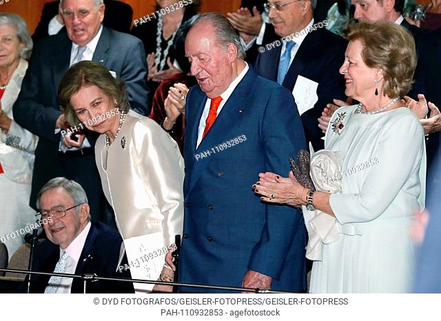 Sofia of Spain and Juan Carlos I of Spain at the concert in honor of the 80th birthday of Sofia of Spain in the Escuela Superior de Musica Reina Sofia