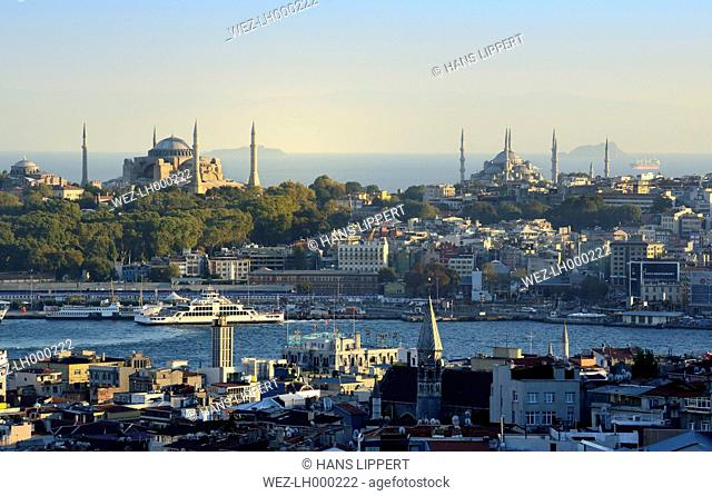 Turkey, Istanbul, View of Golden Horn with Hagia Sophia and Sultan Ahmed Mosque