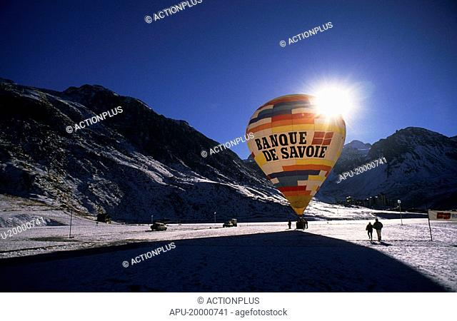 Hot air balloon on a ski resort