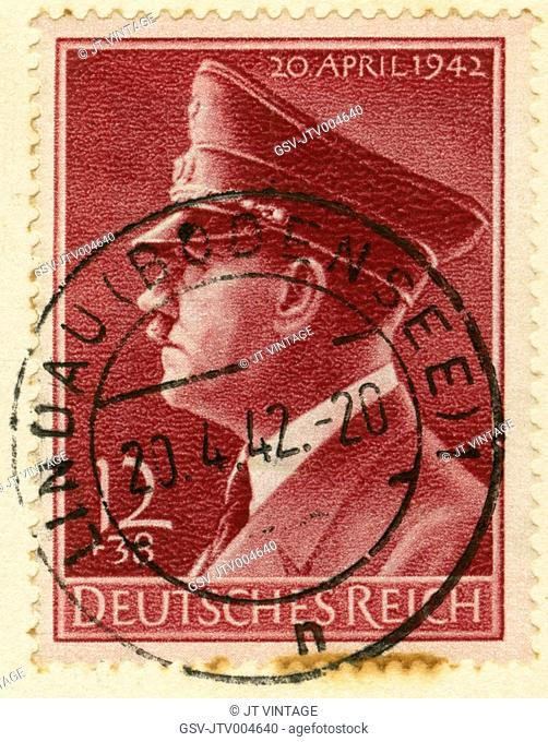 Adolf Hitler Portrait on German Stamp, 1942
