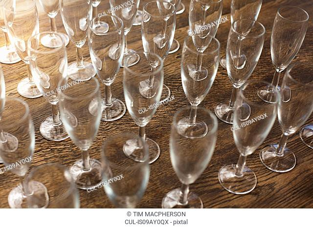 Collection of empty champagne flutes