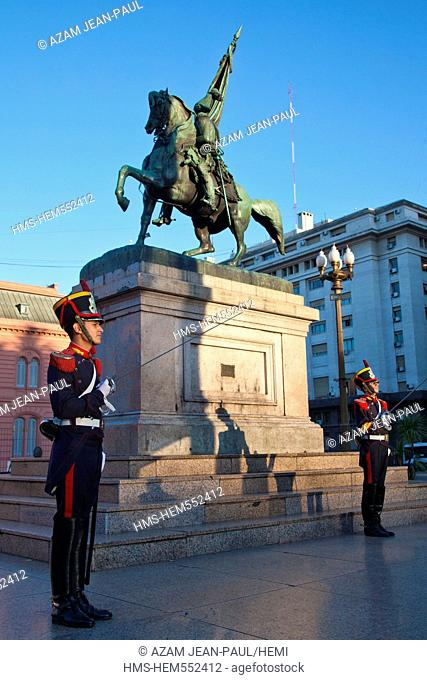Argentina, Buenos Aires, Plaza de Mayo, the equestrian statue of General Belgrano