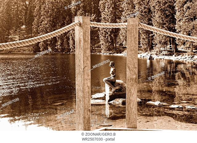 Mermaid Lake Mummelsee Black Forest Germany sepia
