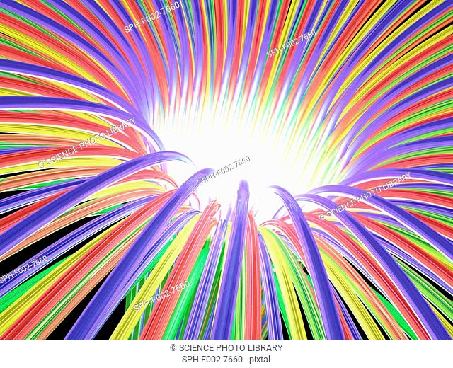 Multicoloured light ray funnel, artwork
