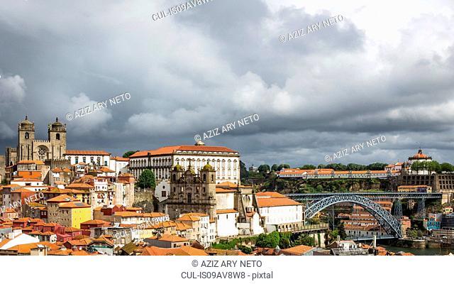 Cityscape, including Dom Luis I Bridge, Porto Cathedral and Igreja dos Grilos, Porto, Portugal