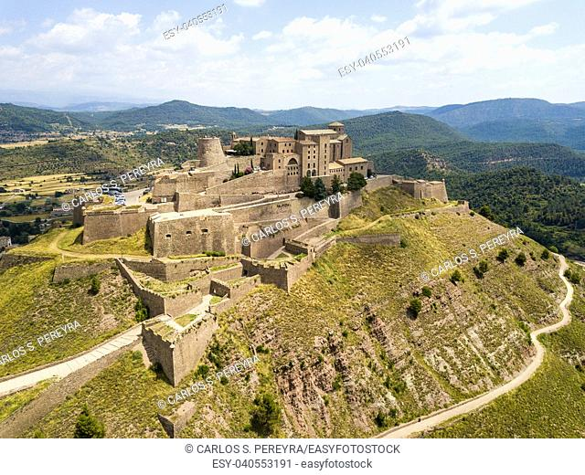 Aerial view of Cardona castle in Catalonia Spain