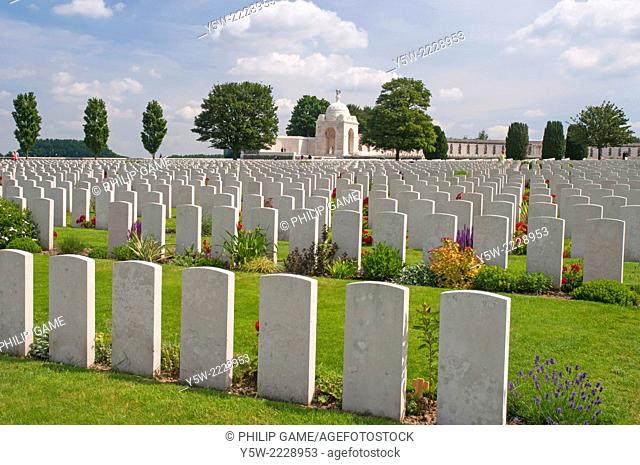 "Graves at the Tyne Cot Military Cemetery, near Ypres (Ieper) in the """"Flanders Fields"""" of West Flanders, Belgium"