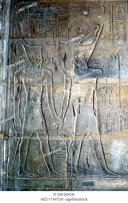 Relief of Alexander the Great as the Pharaoh being blessed by the god Amun-Ra, Temple sacred to Amun Mut and Khons, Luxor, Egypt