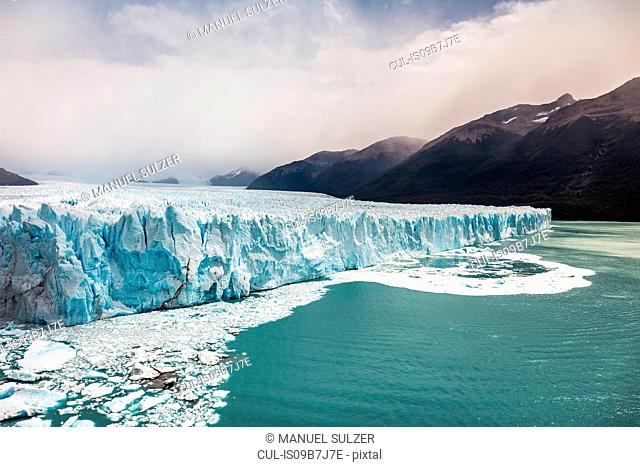 View of lake Argentino and Perito Moreno Glacier and mountains in Los Glaciares National Park, Patagonia, Chile