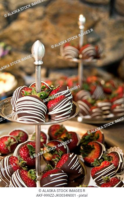 Chocoloate covered strawberries at a business conference reception, Girdwood, Southcentral Alaska