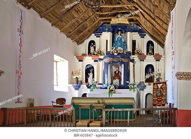 Altar, Iglesia San Pedro church in San Pedro de Atacama, Región de Antofagasta, Chile, South America