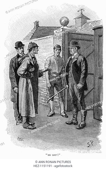 The Adventure of Silver Blaze, Holmes questioning a suspect. Encounter between Silas Brown, the trainer who was hiding the lost racehorse Silver Blaze