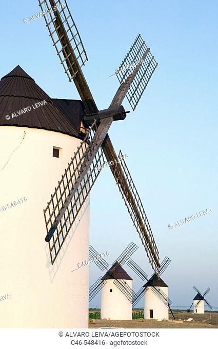 Windmills. Mota del Cuervo. Cuenca province. The Route of Don Quixote. Castilla-La Mancha. Spain
