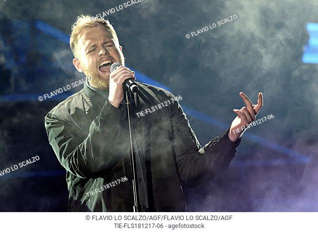 The singer Tom Walker during the performance at the tv show Che tempo che fa, Milan, ITALY-17-12-2017