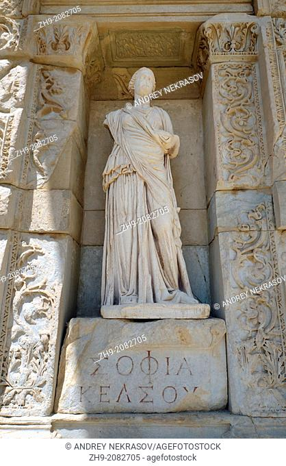Sculpture, antique city of Ephesus, Efes, Turkey, Western Asia