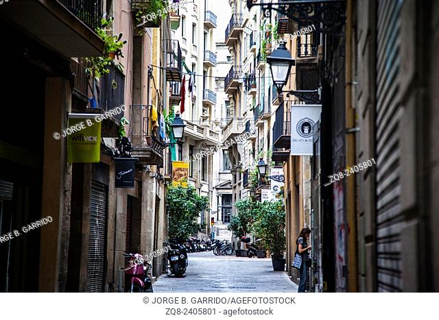 Narrow street in El Born, Barcelona, Spain