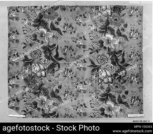 Piece. Date: ca. 1835-40; Culture: British; Medium: Cotton; Dimensions: L. 21 1/2 x W. 25 1/2 inches; Classification: Textiles-Printed; Credit Line: Gift of...